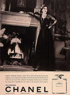 1921 Coco Chanel in the first advertisement for No. 5.