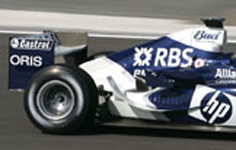 Oris en piste sur les bolides du WilliamsF1 Team, 2005.